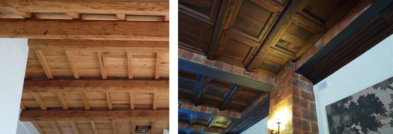 Soffitto a cassettoni, controsoffitti e cassettonato in legno di castagno